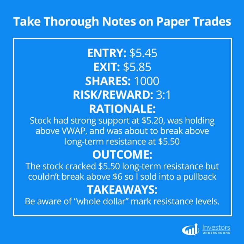 Recording Paper Trades