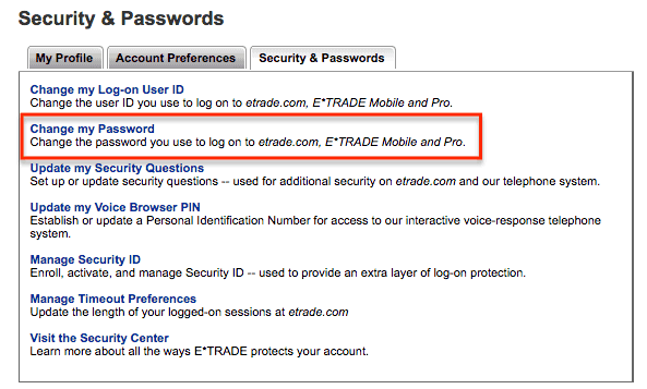 Change Etrade Password 2