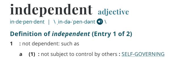 Independent Definition